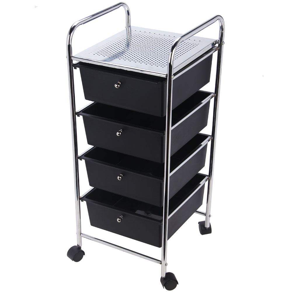 4 drawer trolley mobile office salon storage cart wheels for 4 unit