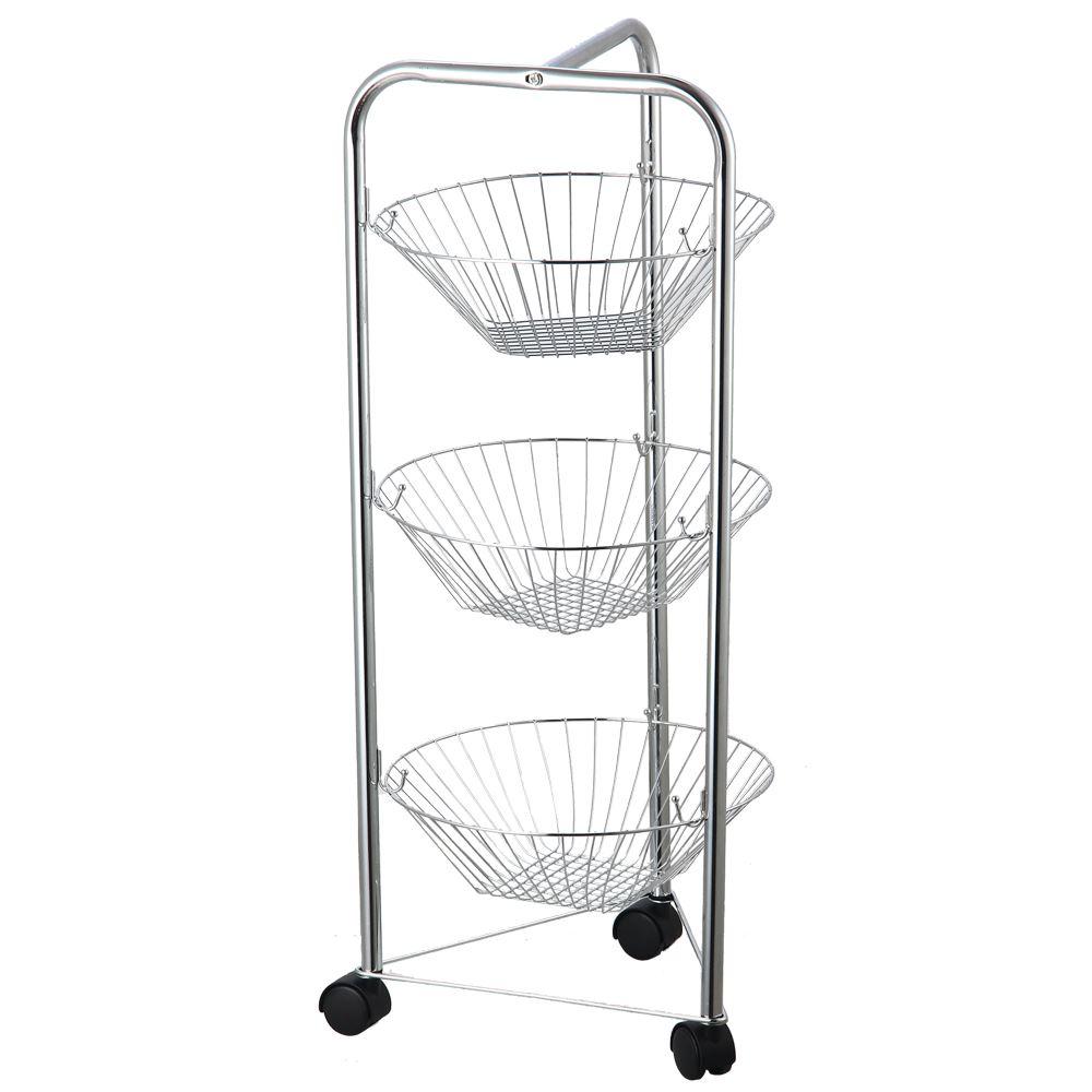 3 4 tier fruit basket kitchen trolley vegetable storage portable stand silver ebay. Black Bedroom Furniture Sets. Home Design Ideas