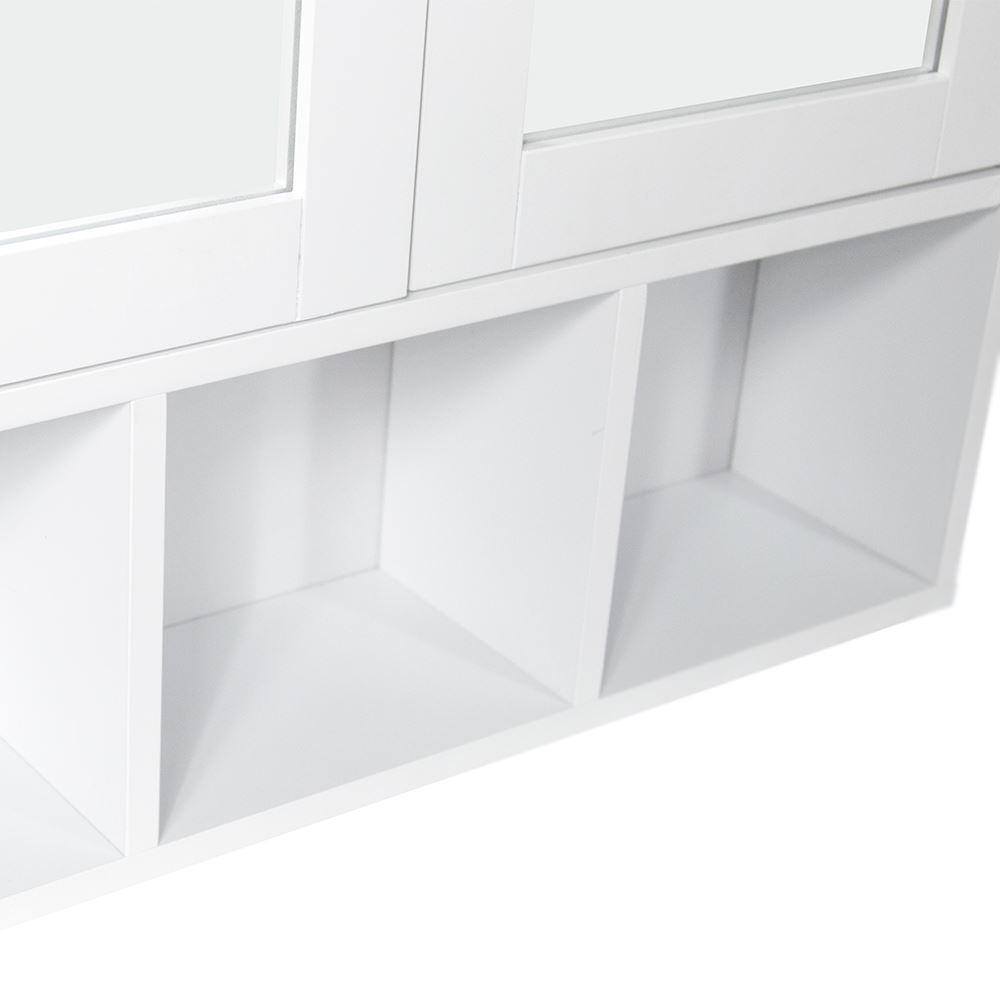 Milano Bathroom Mirror Cabinet Double Door Shelves Wall Mounted Cupboard Whit