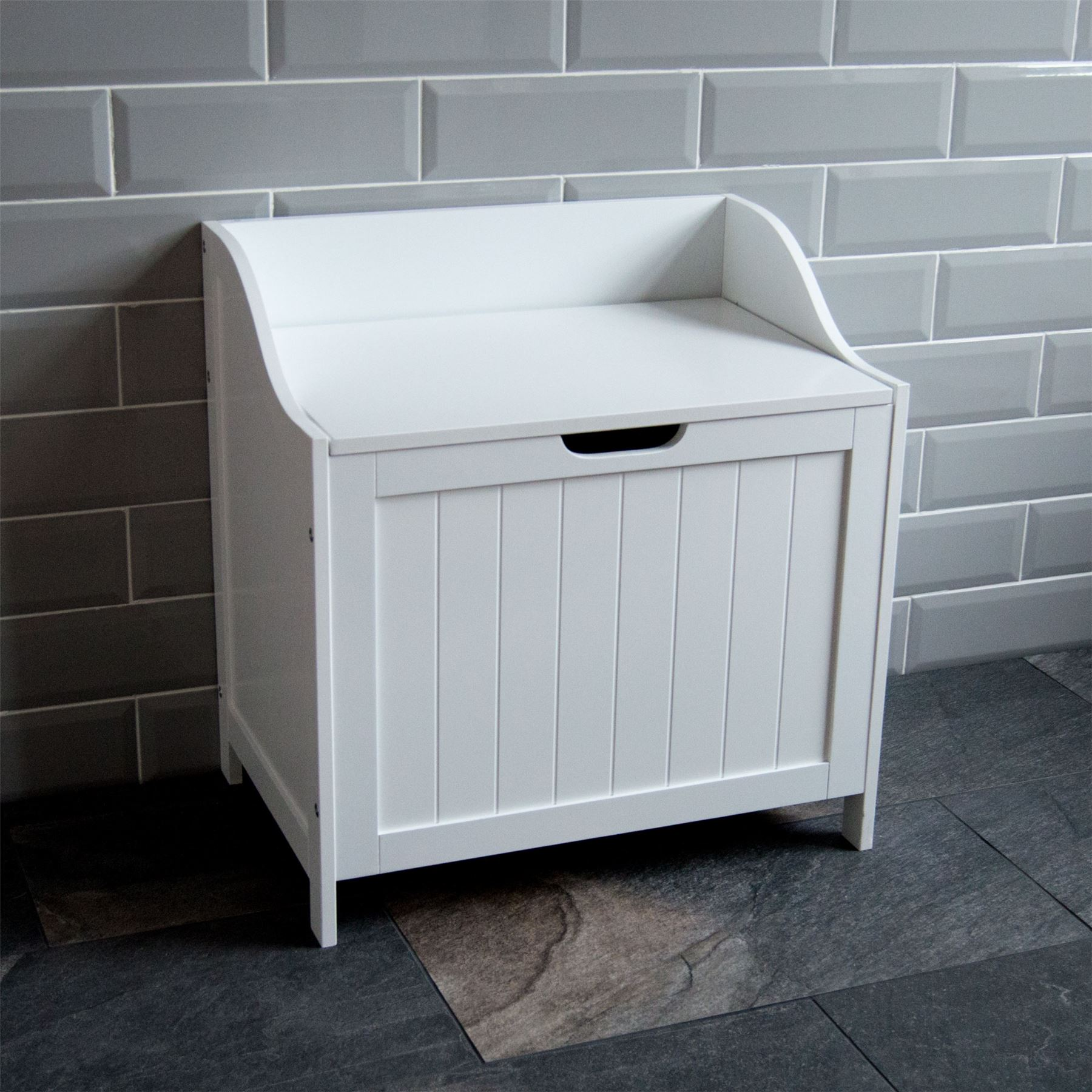 Priano Bathroom Laundry Cabinet Storage Bin Chest Basket Box Furniture White
