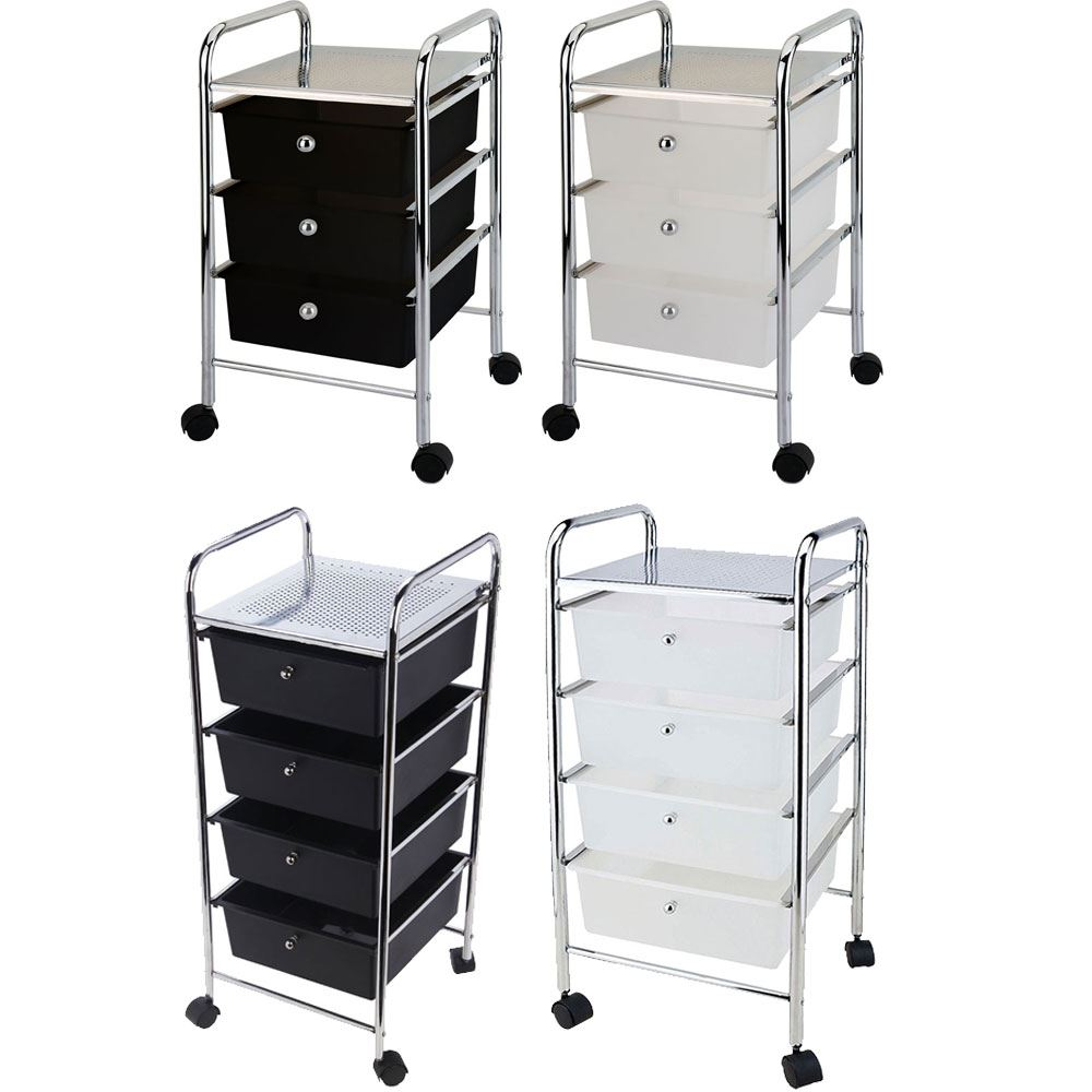 Kitchen Storage Units On Wheels: 3 4 Tier Drawer Trolley Black White Portable Storage