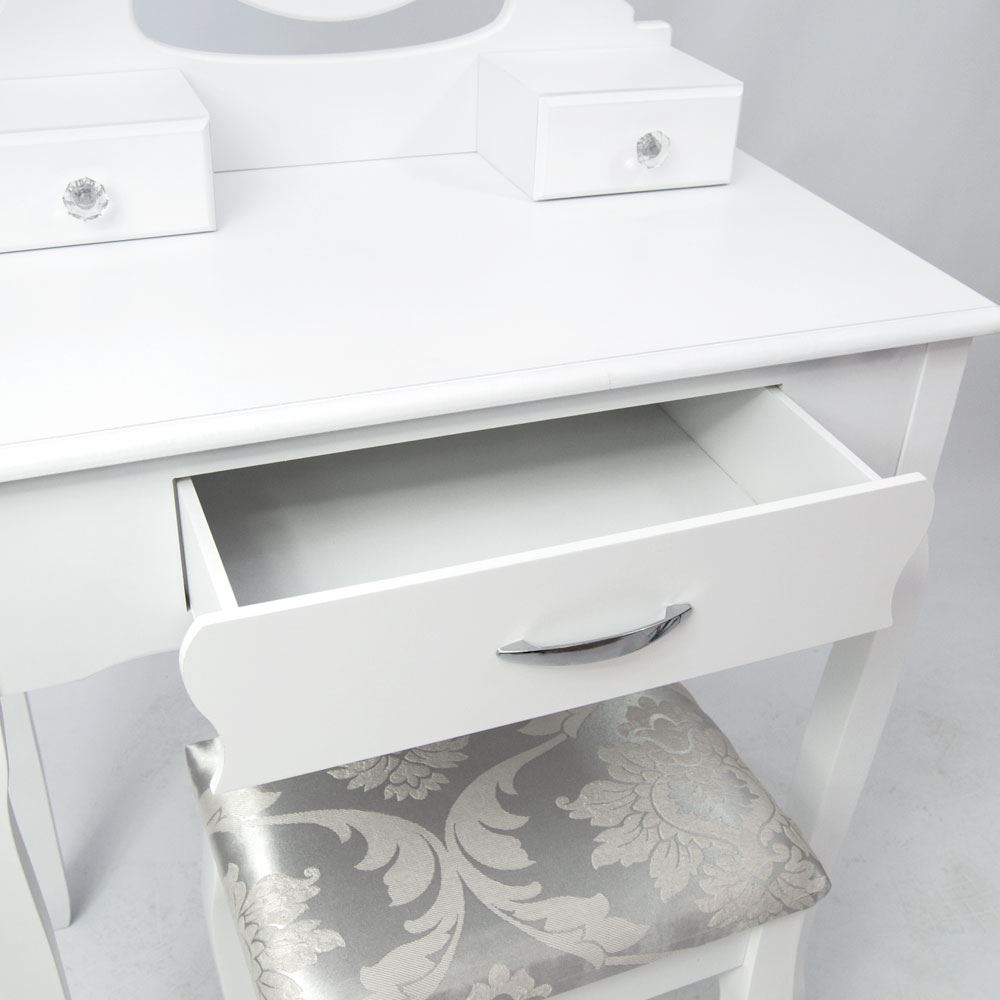 Nishano Dressing Table 3 Drawer With Stool White Bedroom Vanity Makeup Desk Ebay