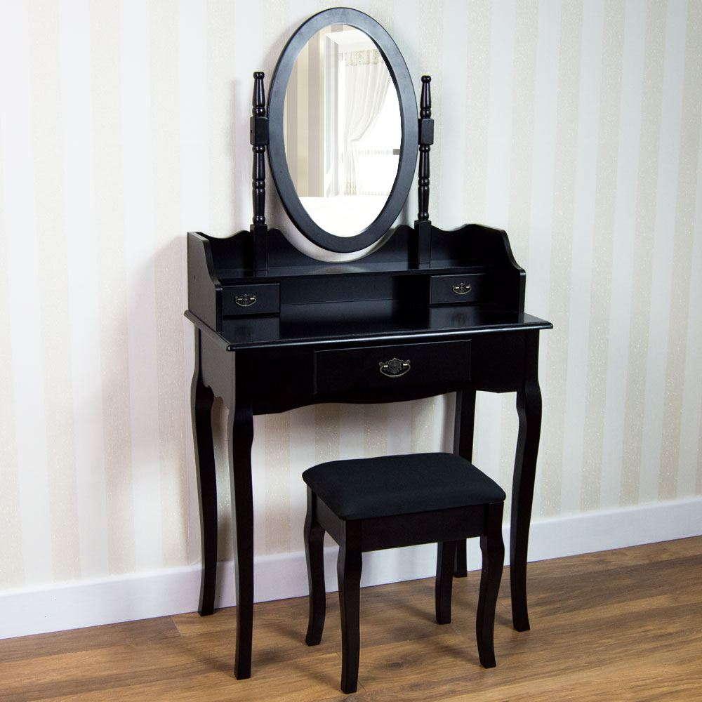 Nishano dressing table 3 drawer stool black mirror bedroom for Black makeup table with mirror