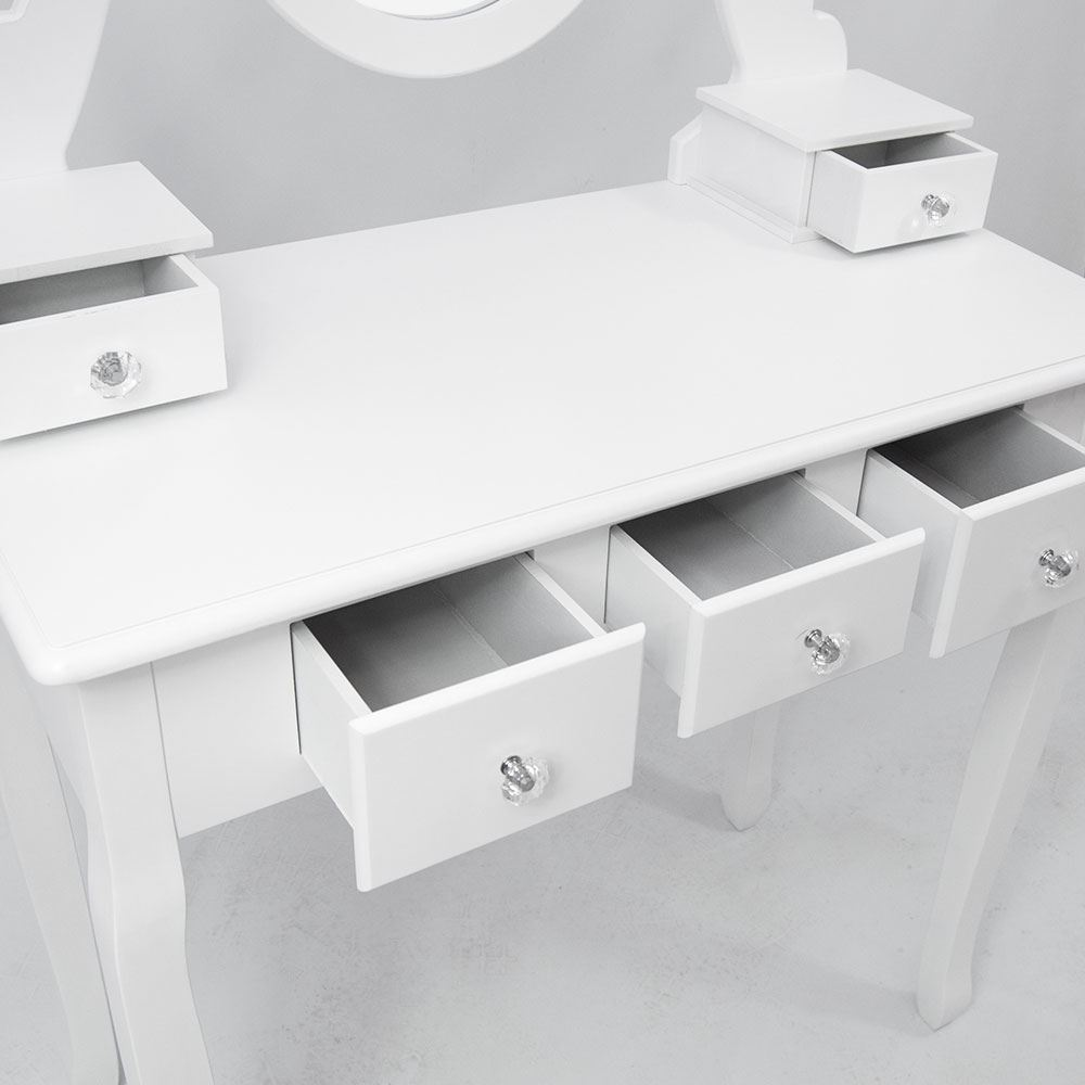 Nishano dressing table 5 drawer stool white makeup mirror for Vanity table with drawers no mirror
