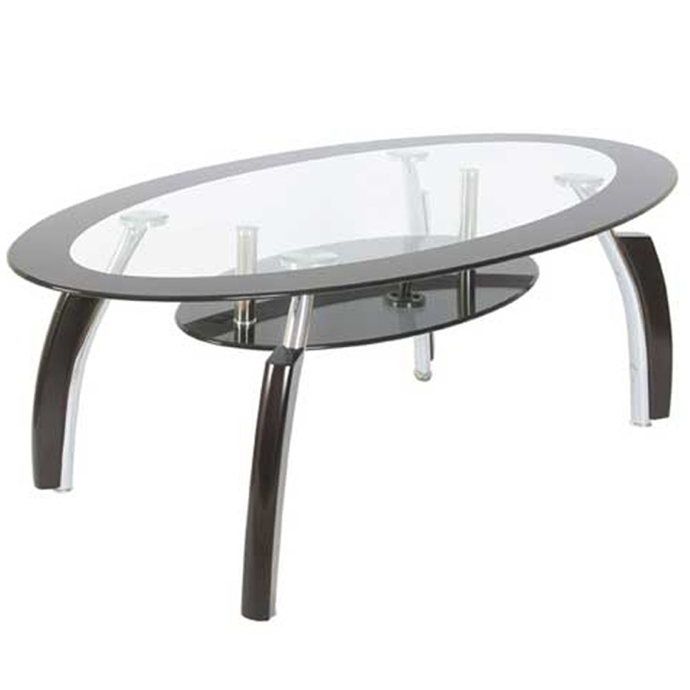 Elena Coffee Table Oval Top White Black Clear Glass Shelf Modern Furniture Ebay