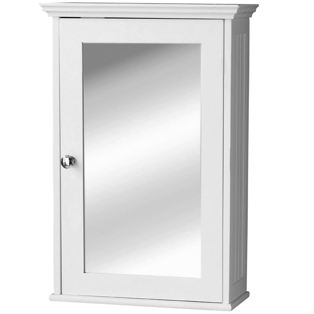 Mirrored Single Cabinet Wall Mounted Medicine Bathroom White Wood Ebay