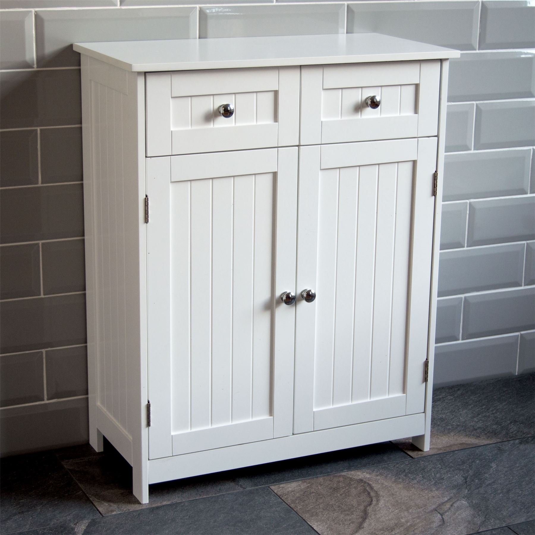 Priano bathroom cabinet 2 drawer 2 door storage cupboard for Bathroom furniture drawers