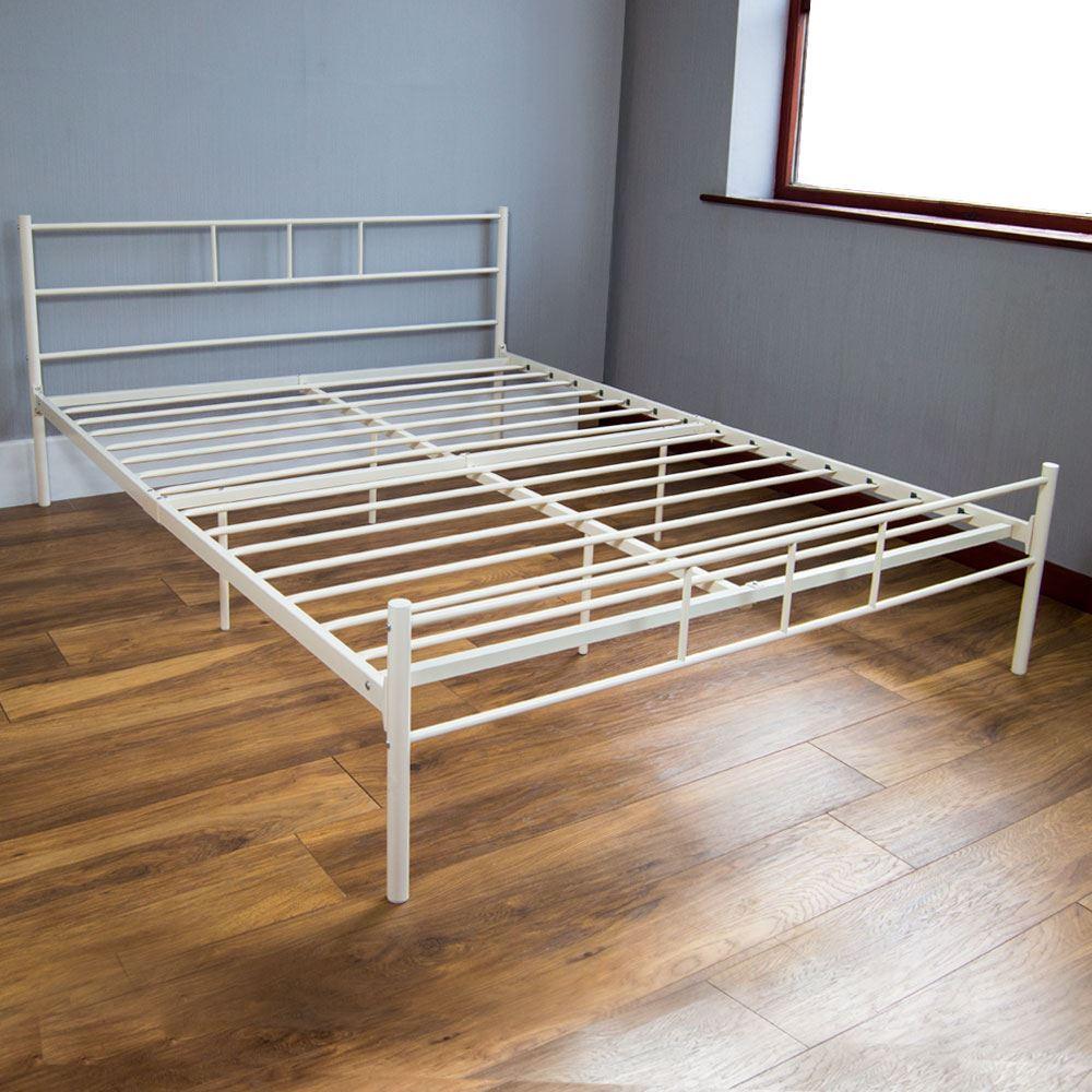 Dorset King Size Bed Metal Steel Frame 5FT Bedroom Furniture Black Silver Whi