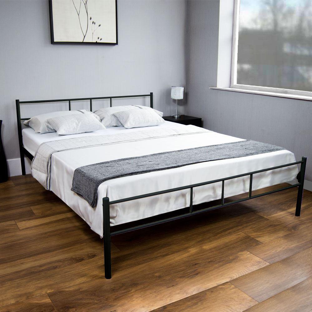 Dorset king size bed metal steel frame 5ft bedroom - White king size bedroom furniture ...