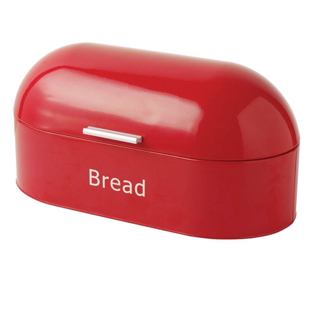 Rectangular Bread Bin Steel Roll Top Kitchen Storage Loaf: Retro Bread Bin Red Steel Kitchen Top Storage Loaf Box Tin