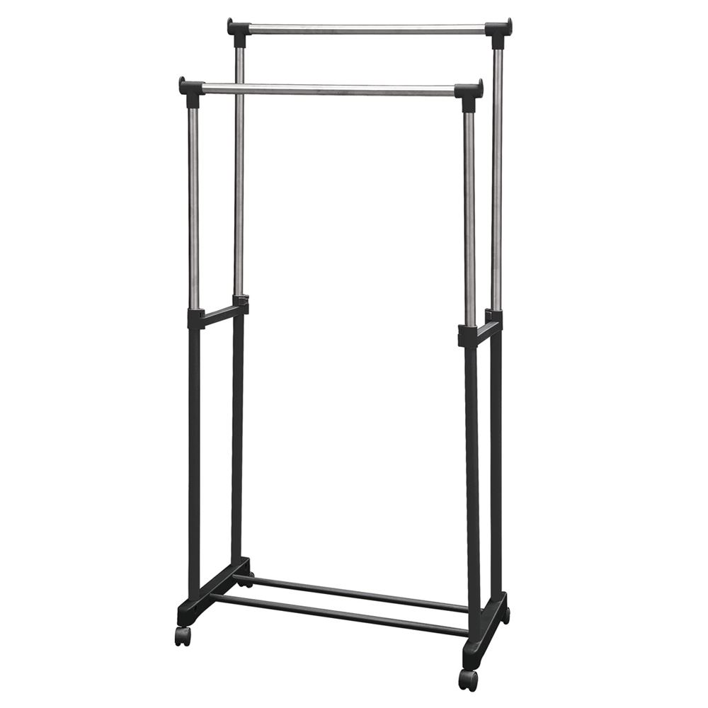 double garment rack clothes adjustable portable hanging rail by home discount ebay. Black Bedroom Furniture Sets. Home Design Ideas