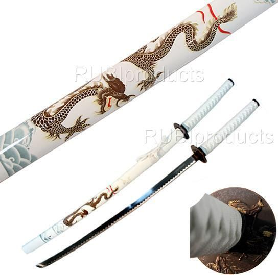 "40"" Samurai Sword White/Gold DRAGON Design Carbon Steel ..."