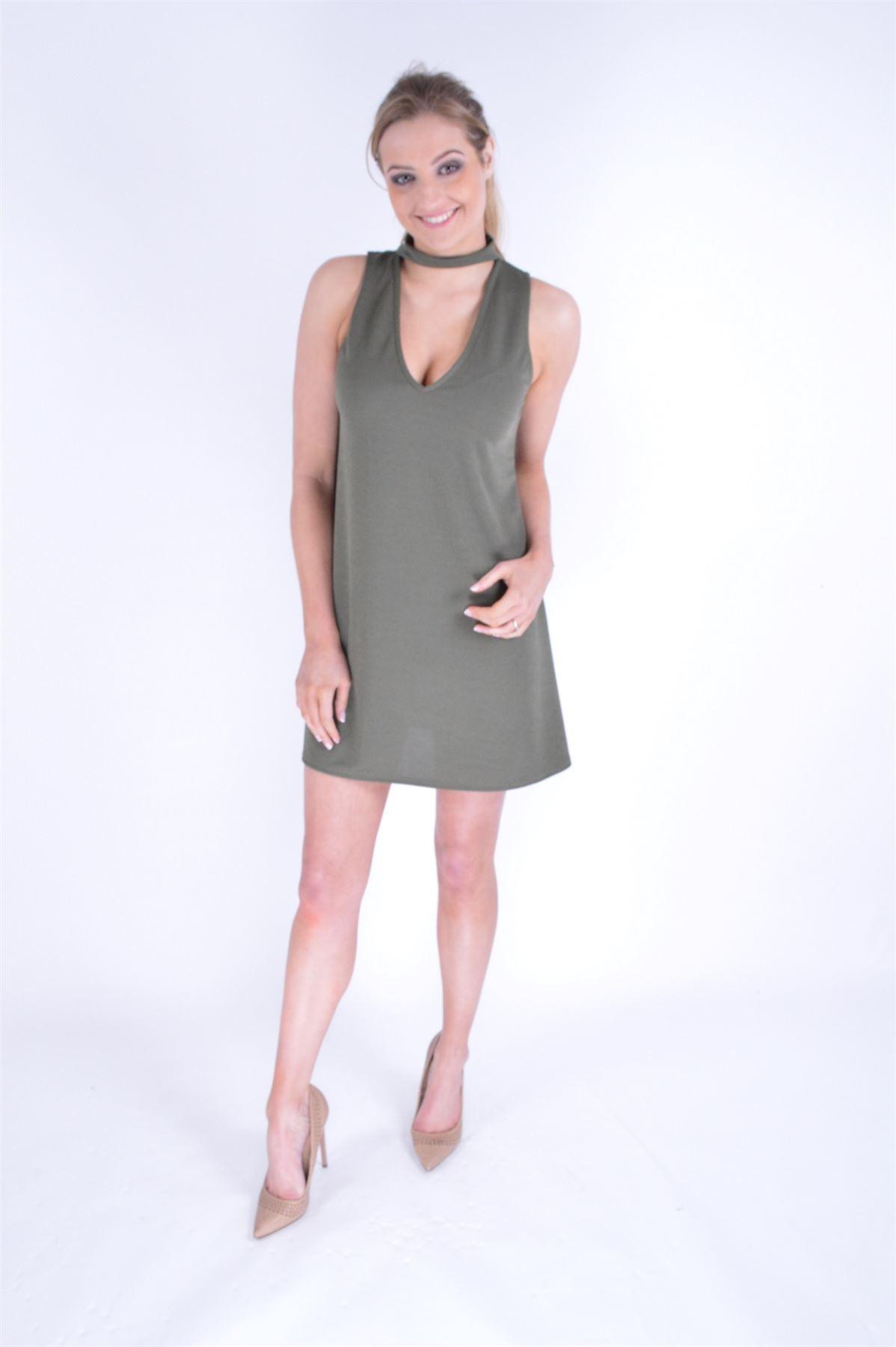 Womens plain and floral choker neck detail mini dress ...