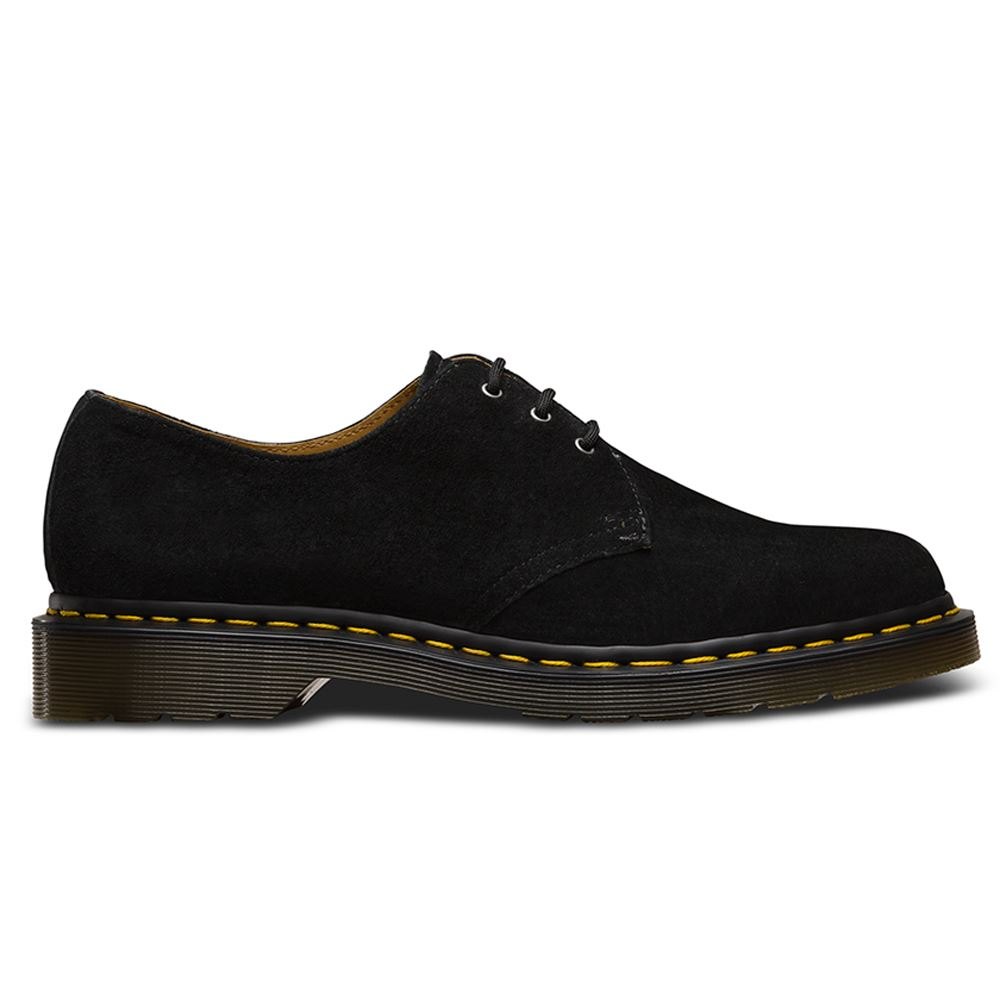 dr martens 1461 3 eyelet soft buck black mens shoes ebay