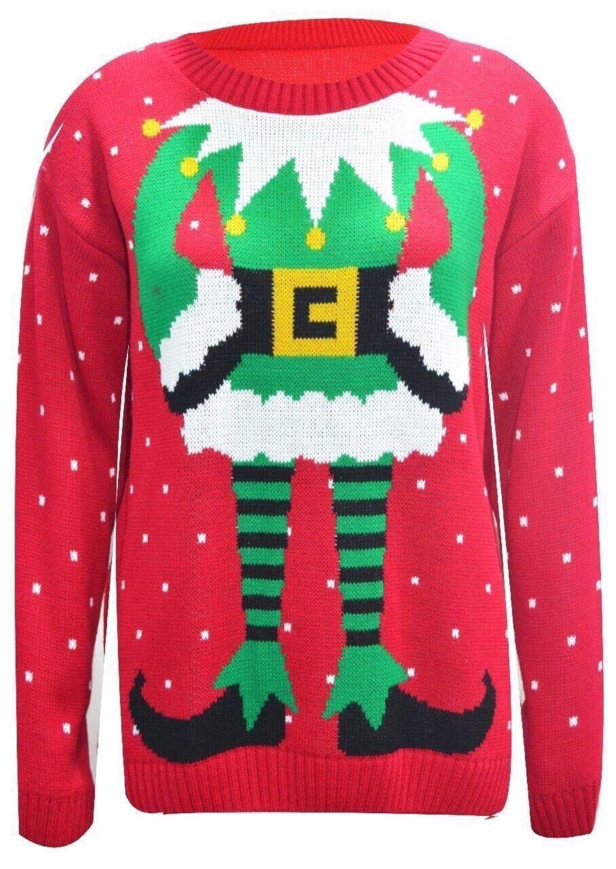 New Womens Elf Dancer Knitted Xmas Jumper Celeb Inspired ...