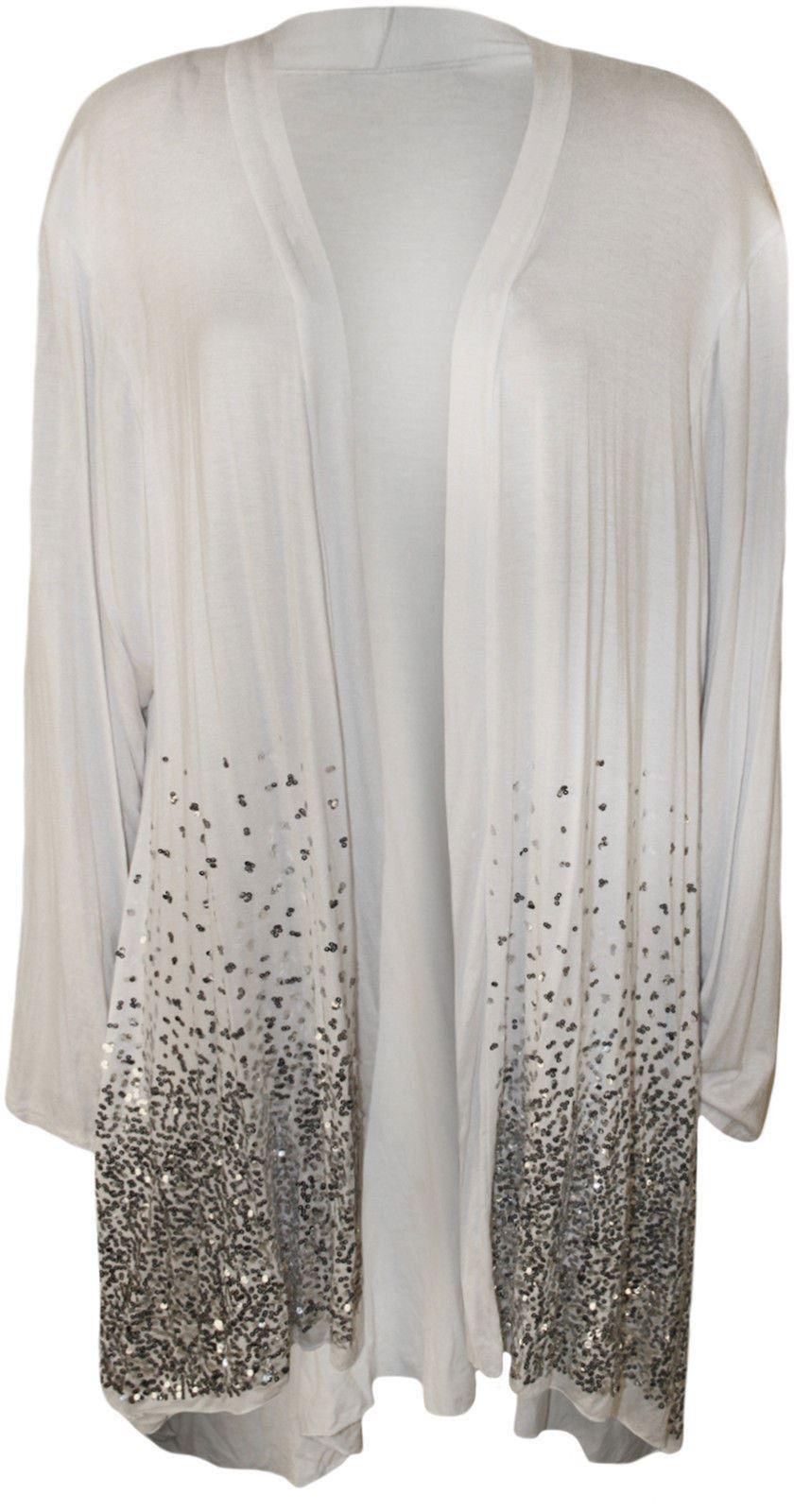 New Plus Size Ladies Sequin Open Cardigan Long Sleeve Womens ...