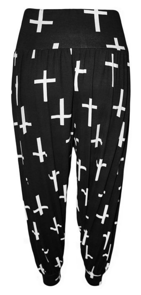 WOMENS LADIES ALI BABA PRINTED PLUSSIZE HAREM BAGGY STRETCH TROUSERS PANTS 12-34
