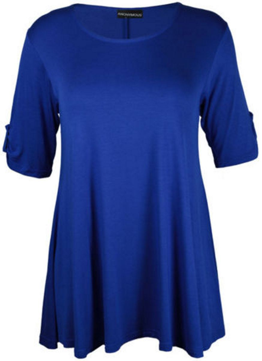 New ladies 3 4 sleeve button stretch flare womens summer for Plus size 3 4 sleeve tee shirts