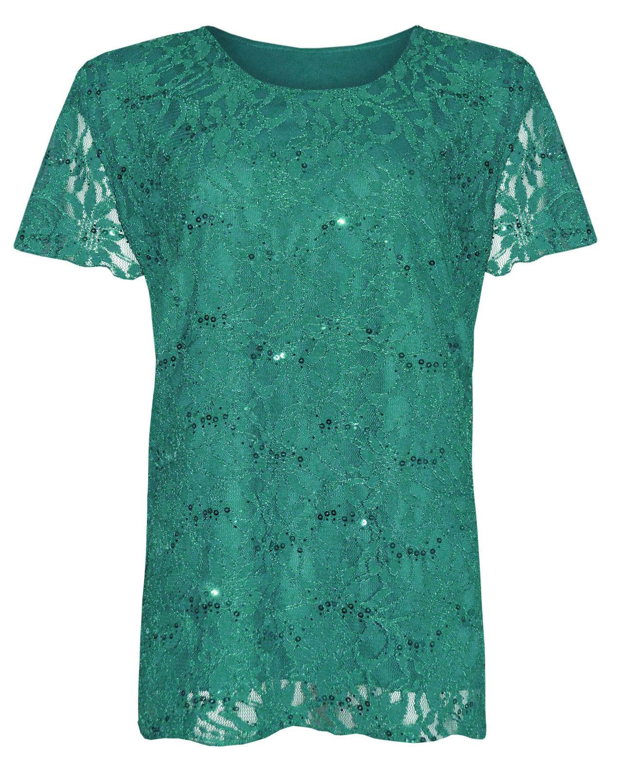 Womens Plus Size Lace Sequin Lined Blouse Floral Pattern