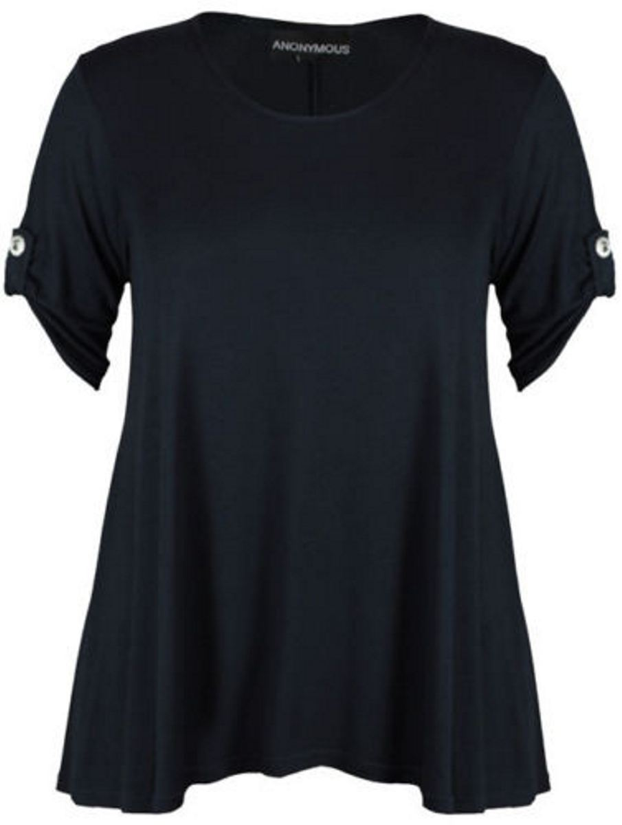 New ladies 3 4 sleeve button stretch flare womens summer for Plus size summer shirts