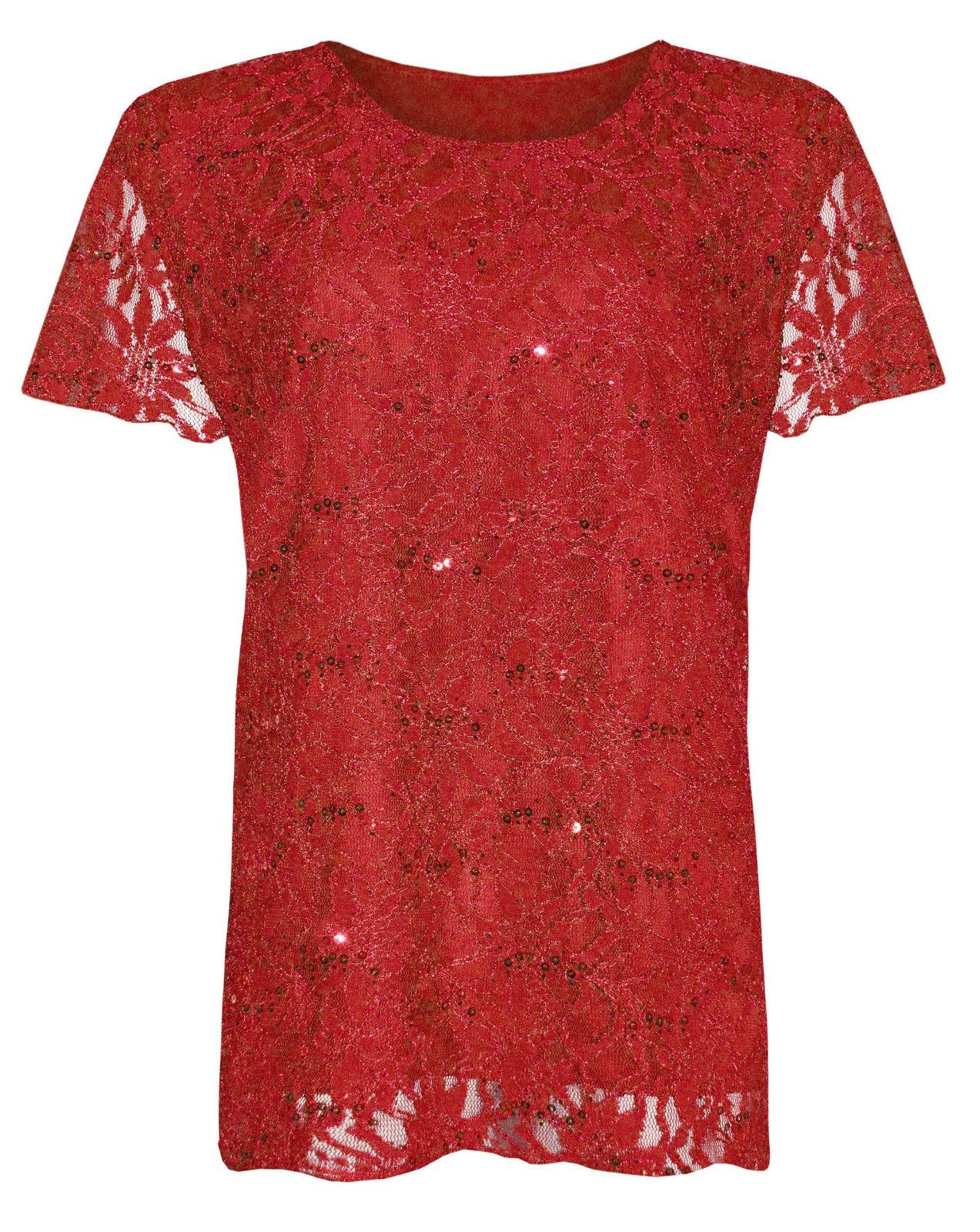 Womens plus size lace sequin lined blouse floral pattern for Pattern shirts for women