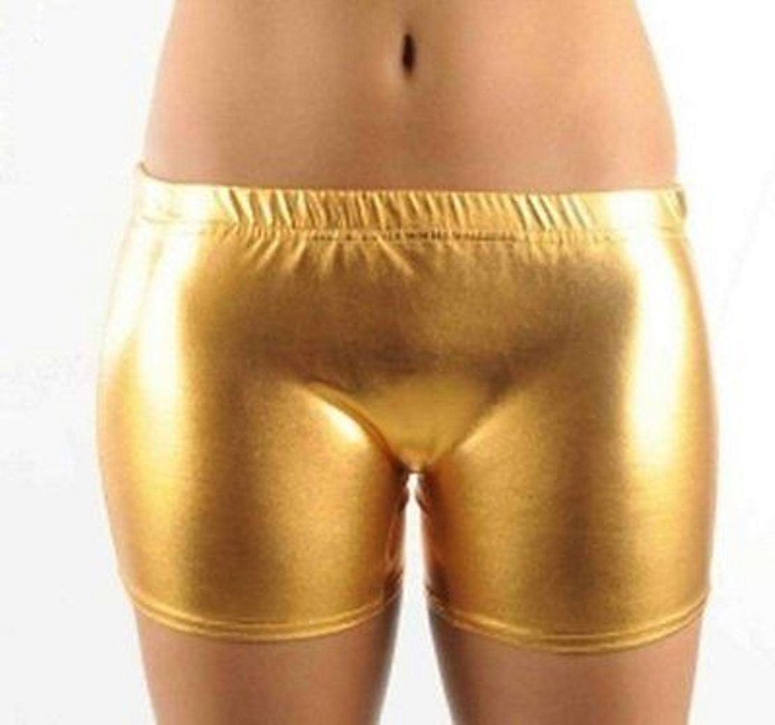 look shiny shorts women