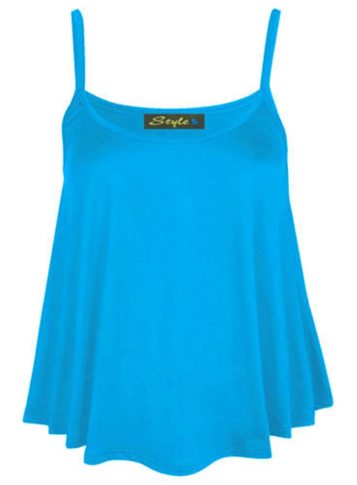 New-Womens-Plain-Swing-Vest-Sleeveless-Top-Strappy-Cami-Ladies-Plus-Size-Flared