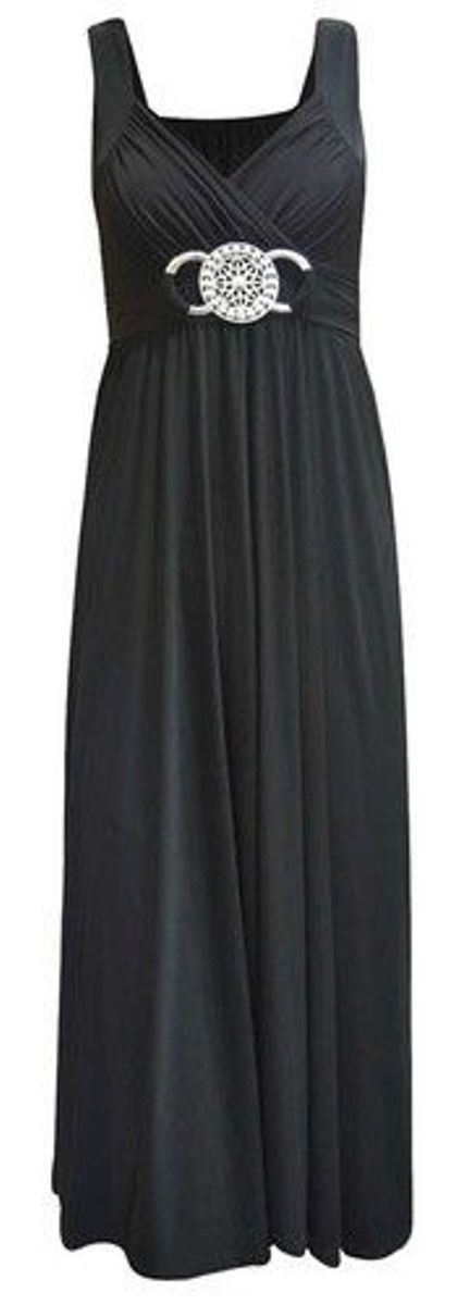 New Ladies Womens Long Evening Maxi Dress Buckle Party Dress Plus ...