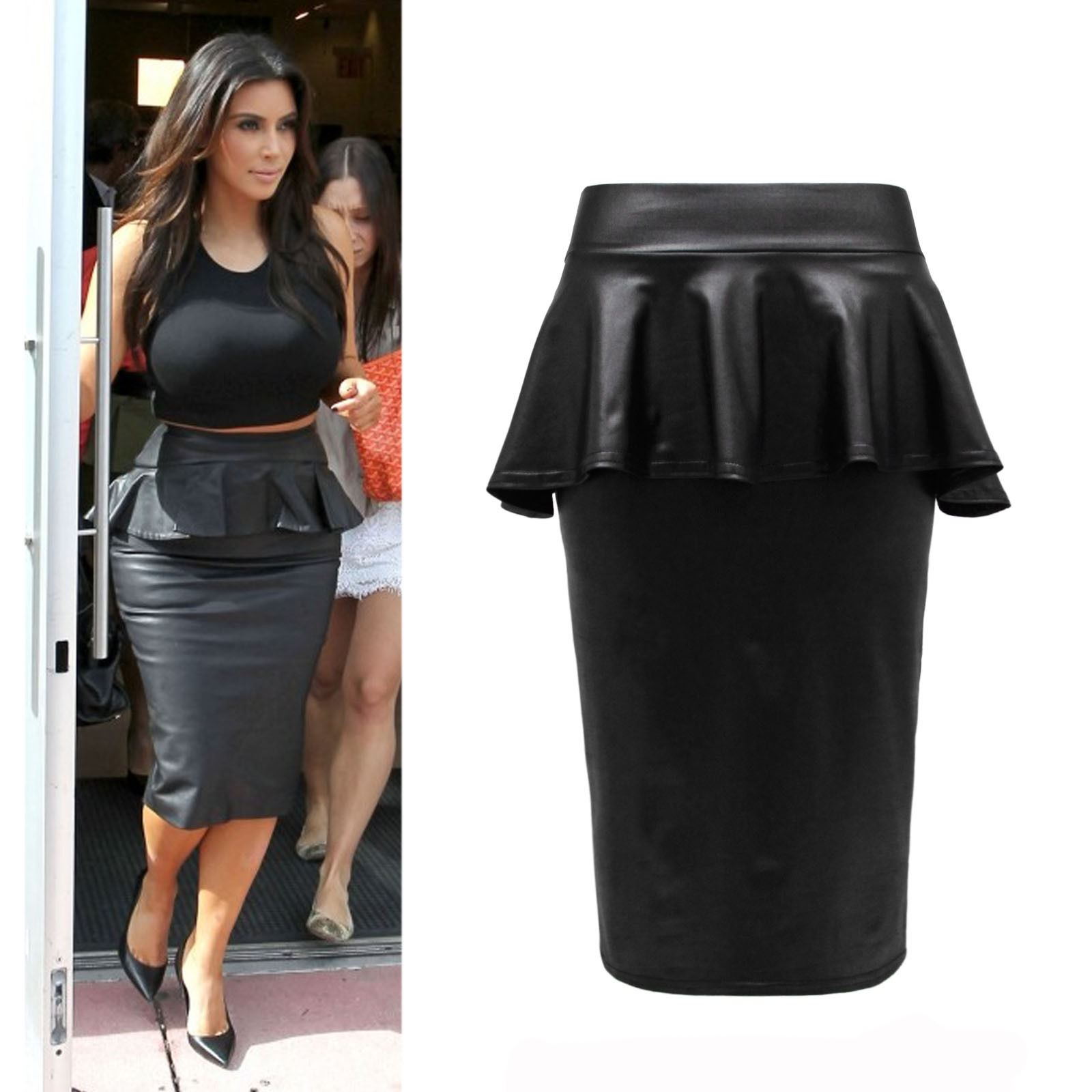 NEW LADIES WOMENS PLUSSIZE PVC WET LOOK LEATHER BODYCON MIDI ...