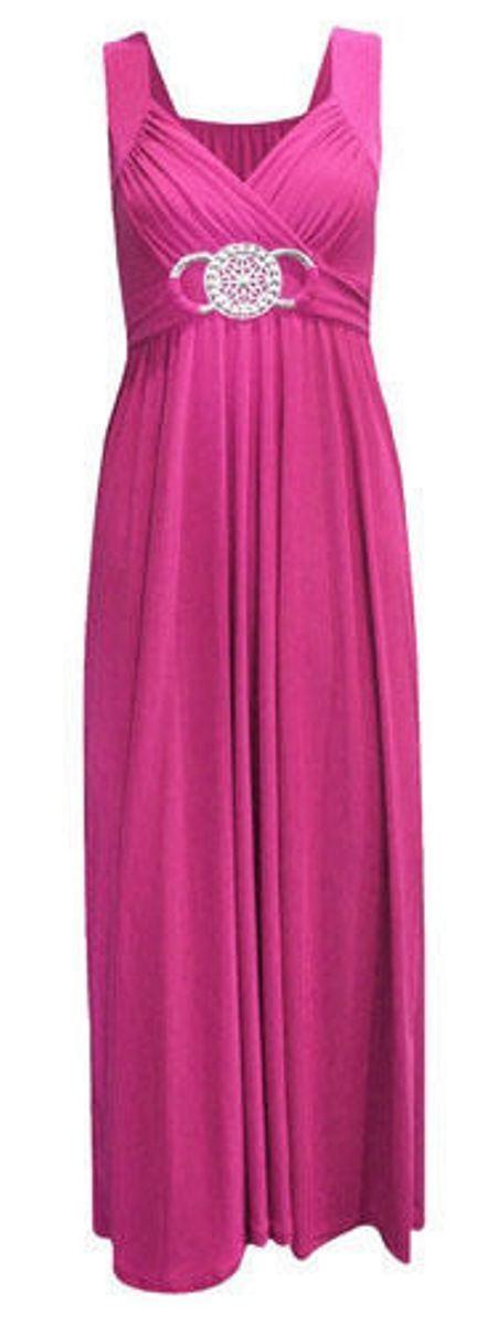 New Ladies Womens Long Evening Maxi Dress Buckle Party Dress Plus ...