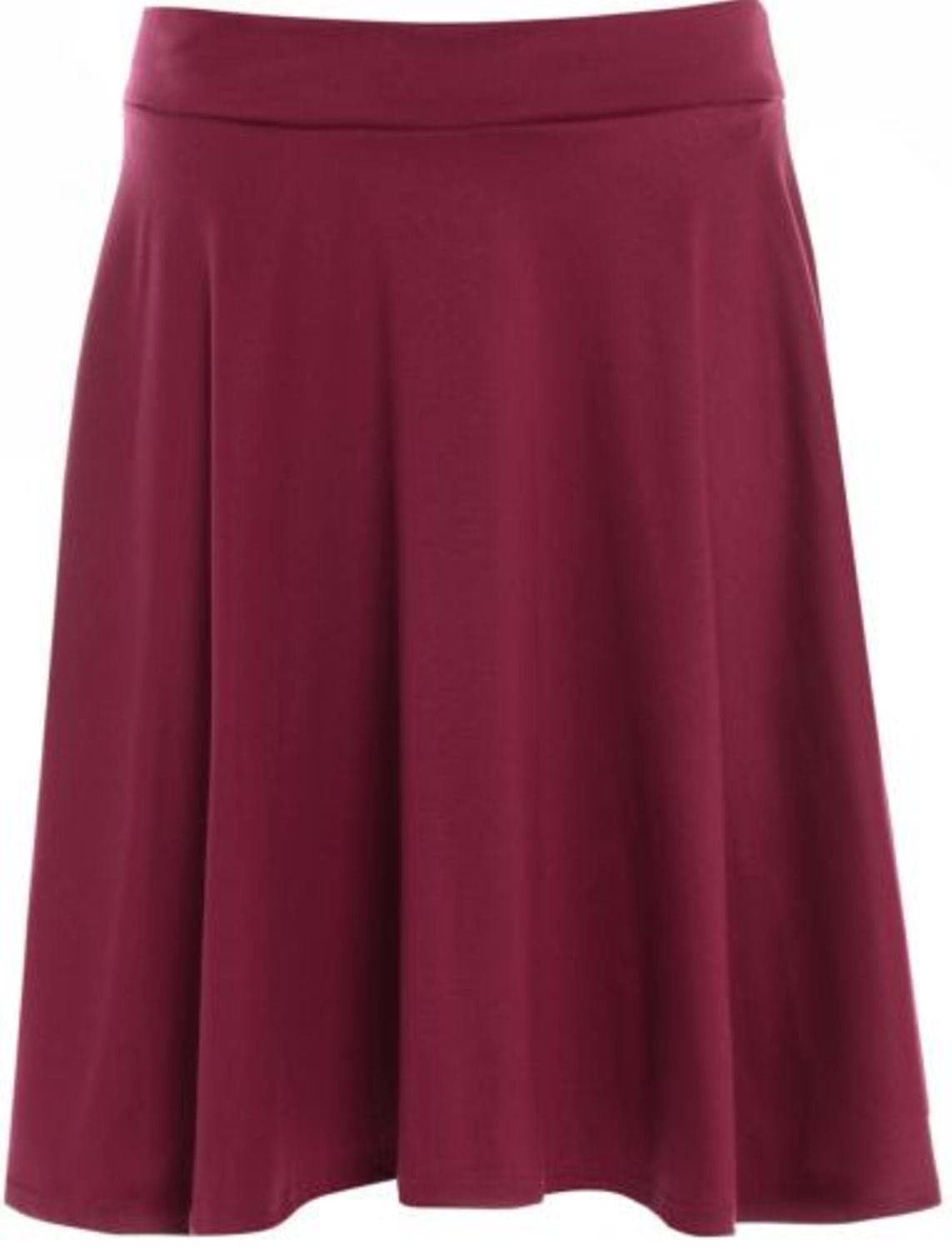 new womens plus size waist band flared skater skirts