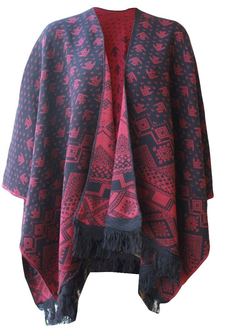 New Ladies Knitted Reversible Poncho Aztec Wrap Shawl ...