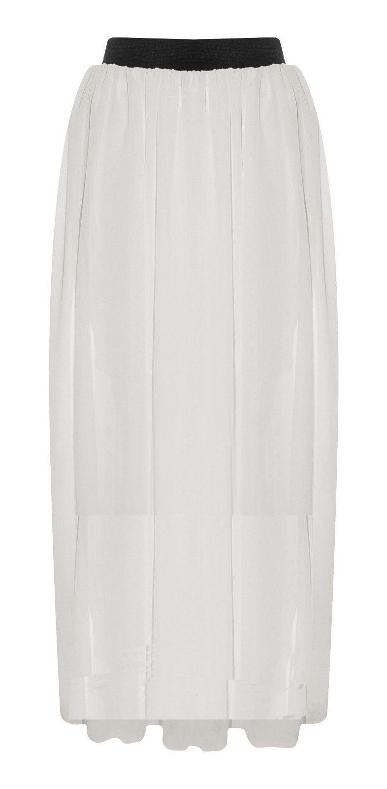 womens sheer chiffon maxi skirt plain