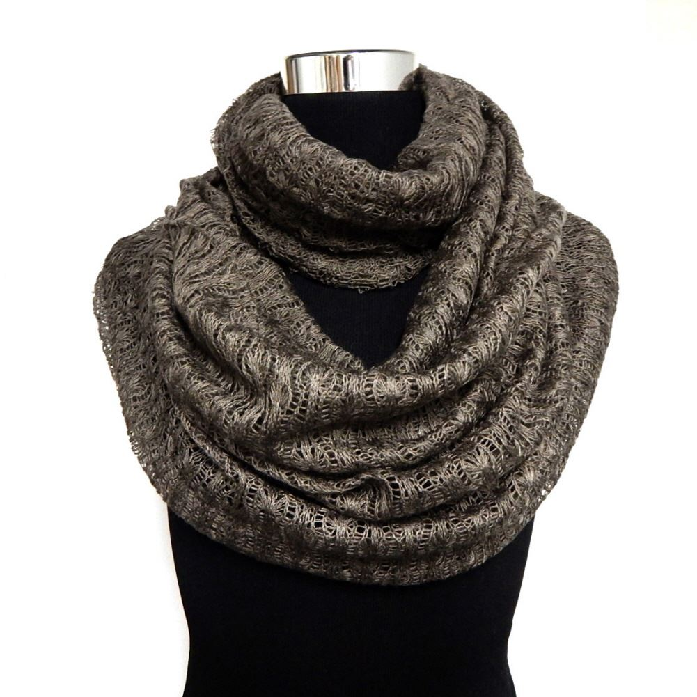 5 colors thin soft knit lace light weight infinity scarf