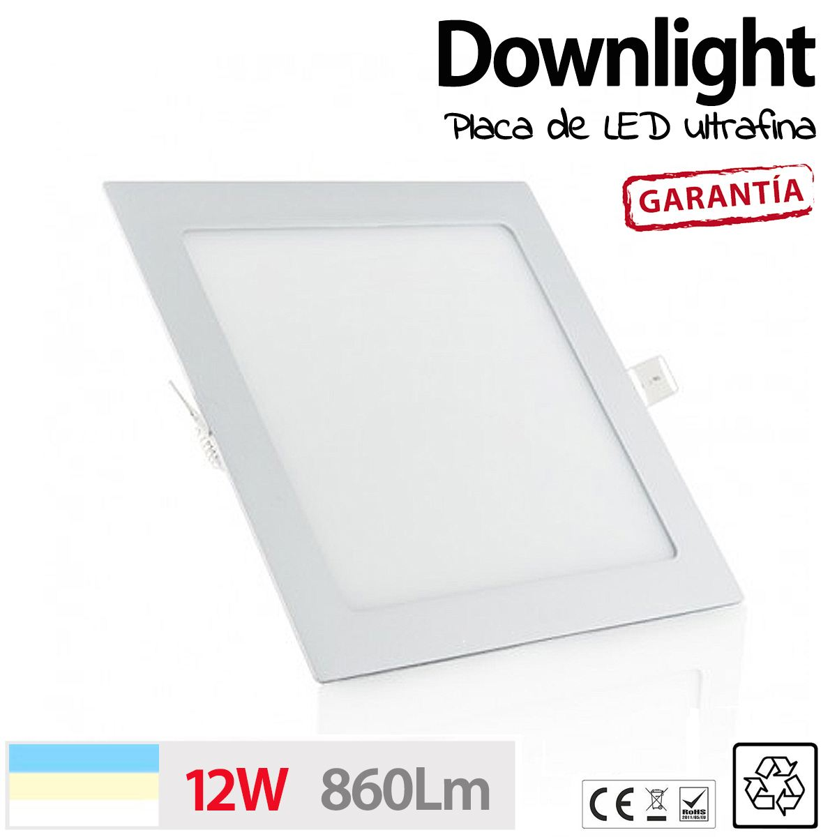 Downlight cuadrado 12w ultrafino placa led luz cocina - Focos led para banos ...