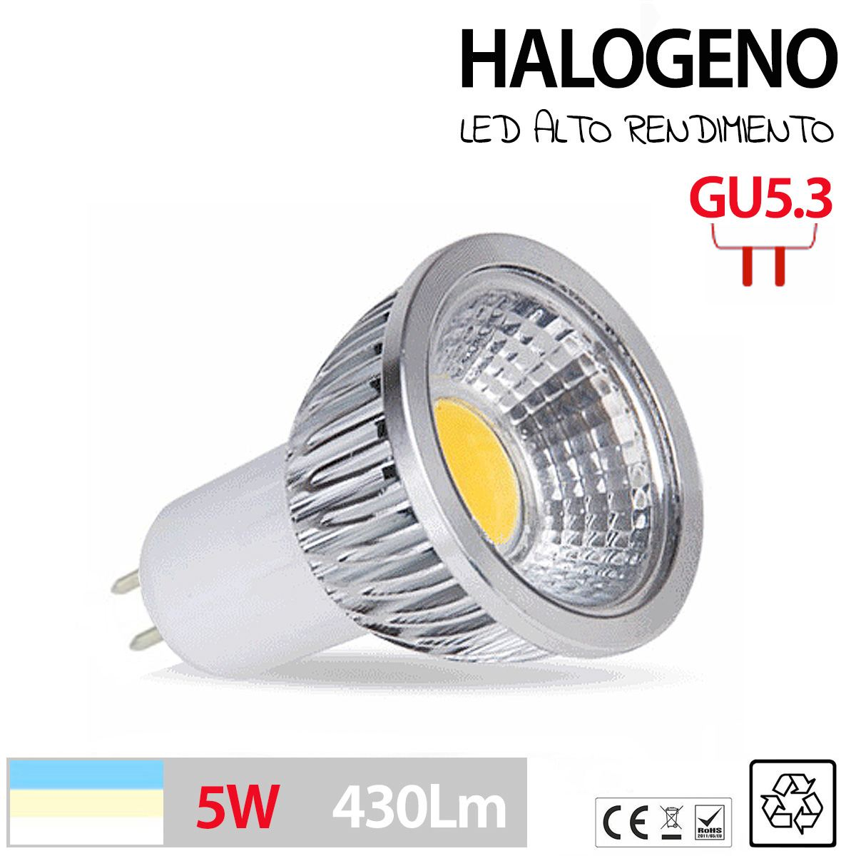 Halogenos led gu10 gu5 3 mr16 en 3w 5w 7w blanco calido - Led para halogenos ...