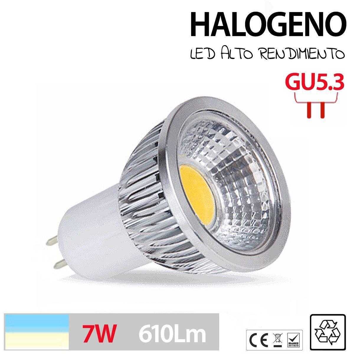 Halogeno led gu5 3 bombilla lampara foco 3w 5w 7w blanco - Focos halogenos led ...