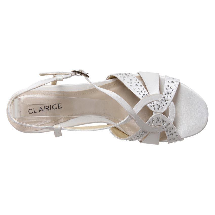 New Clarice Womens Satin Rhinestone Kitten Heel Wedding Evening Shoe Cill Cheap
