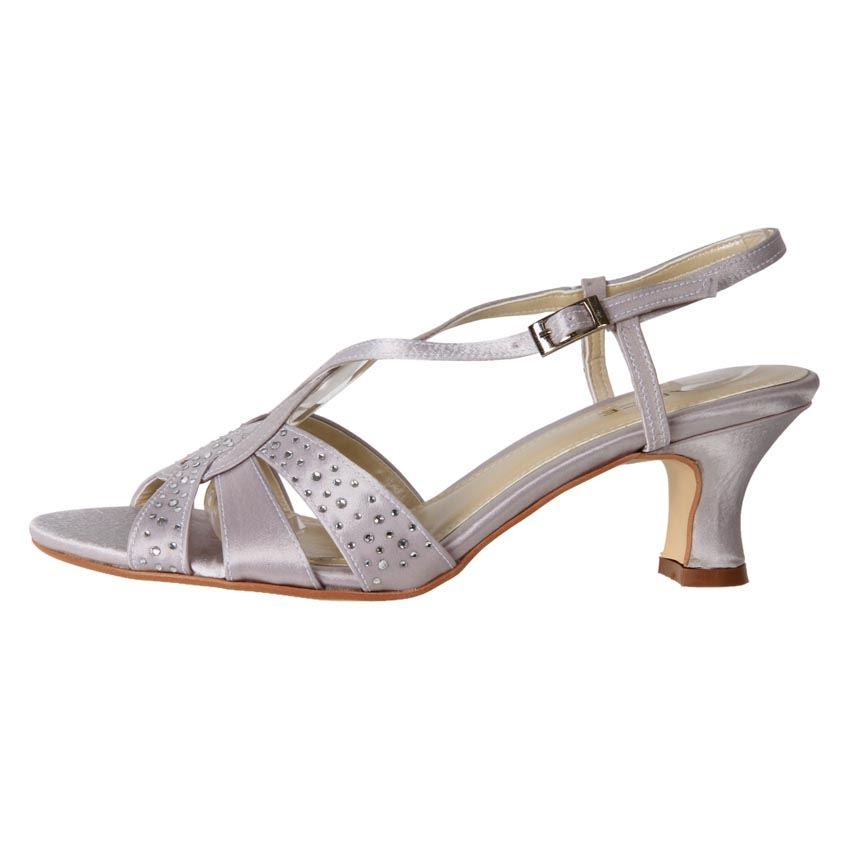 Bridal Shoes For Cheap: New Clarice Women's Satin Rhinestone Kitten Heel Wedding