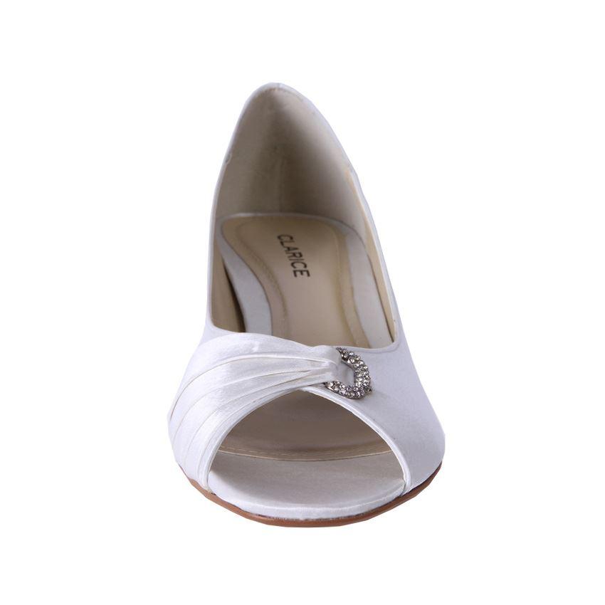 Clarice Womens Satin Rhinestone Low Heel Wedding Shoes Keely Ivory Cheap