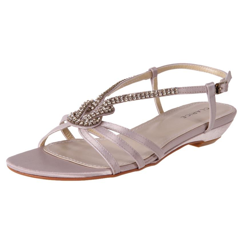 New Claice Womens Low Heel Beach Wedding Debutante Shoes Sandals Sadie Cheap