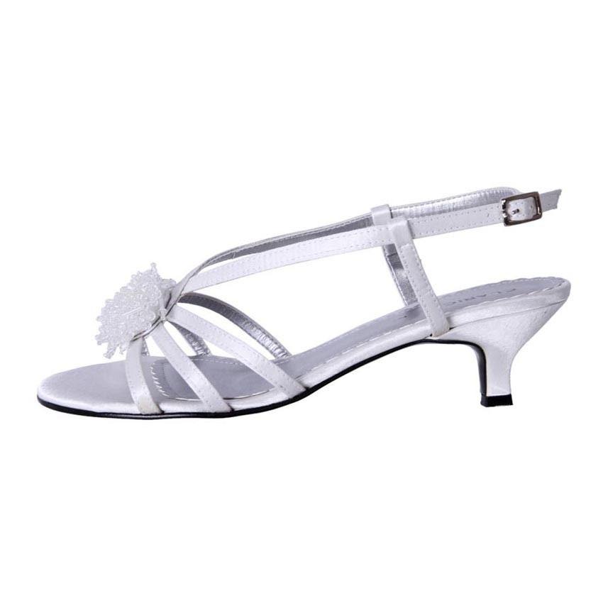 New Clarice Womens Low Heel Satin Comfort Wedding Deb Shoe Amber Cheap