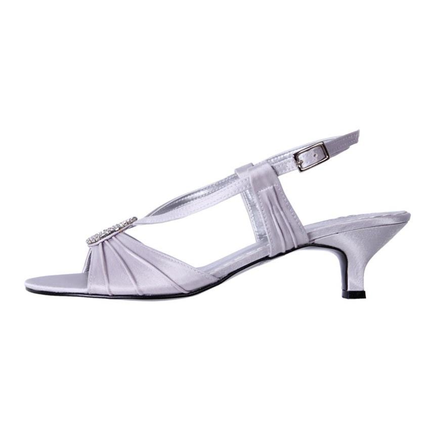 New Clarice Womens Low Heel Comfort Satin Wedding Bridal Shoe Bellona Cheap