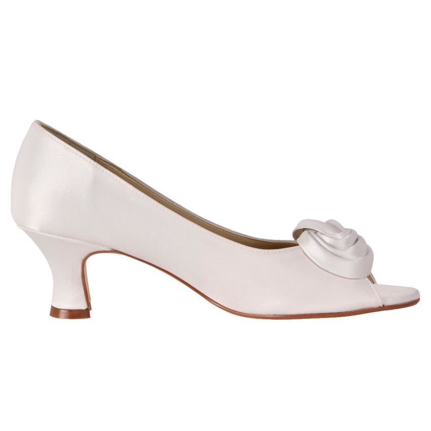 New Clarice Womens Low Heel Satin Rossett Wedding Deb Shoe Nadine Cheap