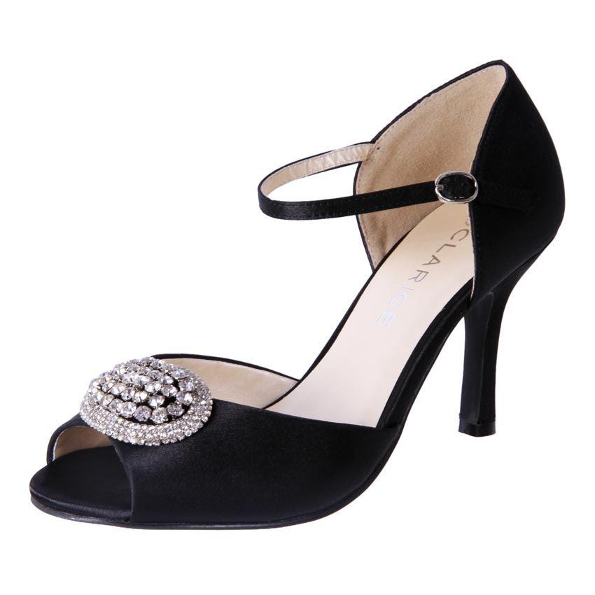 New Clarice Womens Satin Rhinestone Wedding Deb Bridal Heel Shoe Estelle Cheap