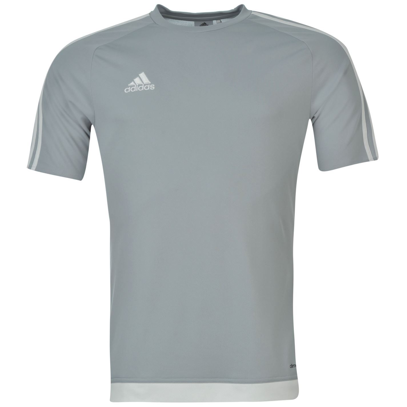 adidas 3 stripe estro climalite t shirt mens light grey sports top tee. Black Bedroom Furniture Sets. Home Design Ideas