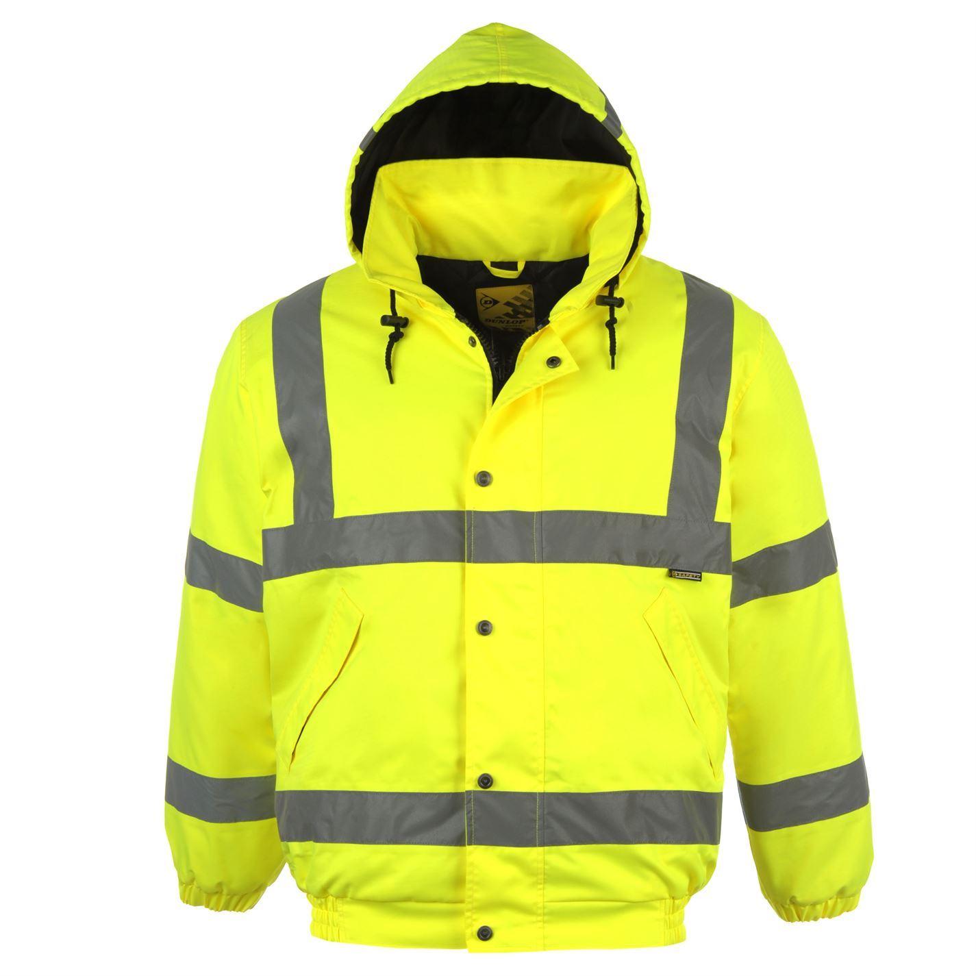 Details about Dunlop Hi Vis Bomber Safety Jacket Mens Yellow