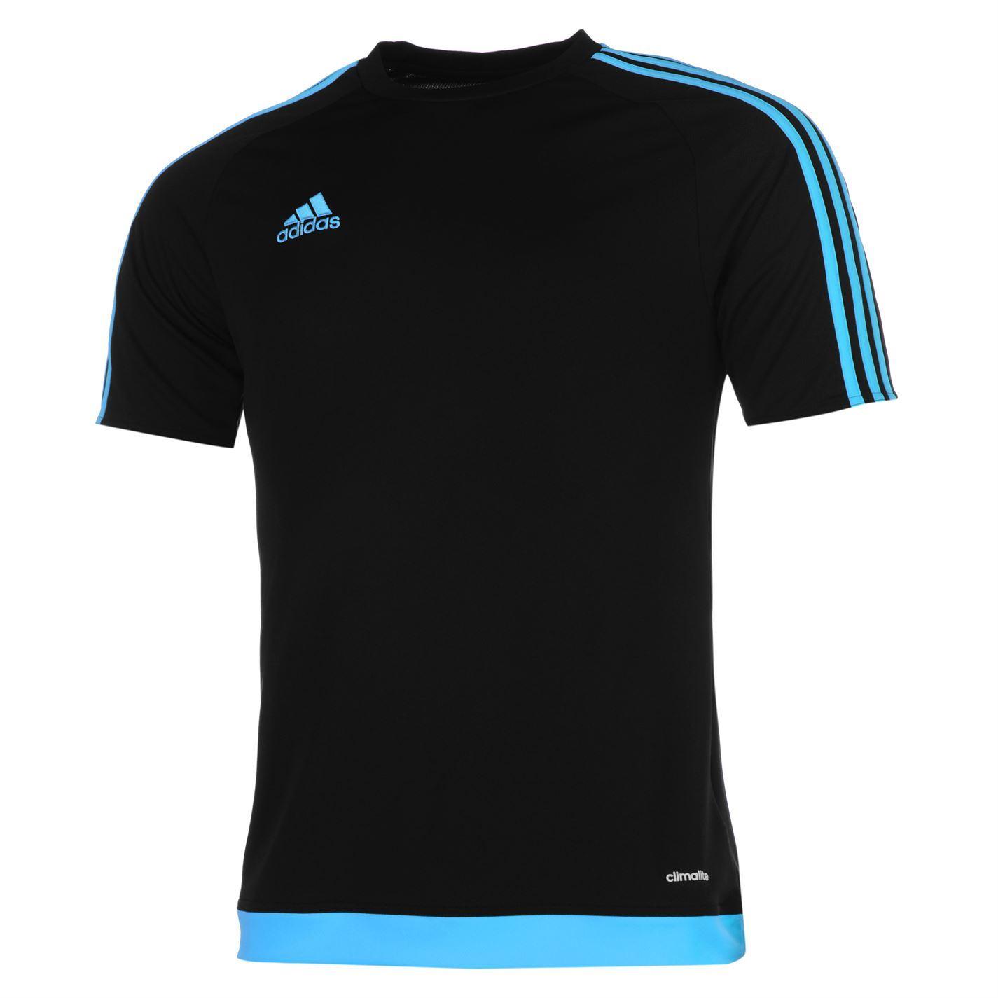 adidas 3 stripe estro t shirt mens black blue top tee. Black Bedroom Furniture Sets. Home Design Ideas