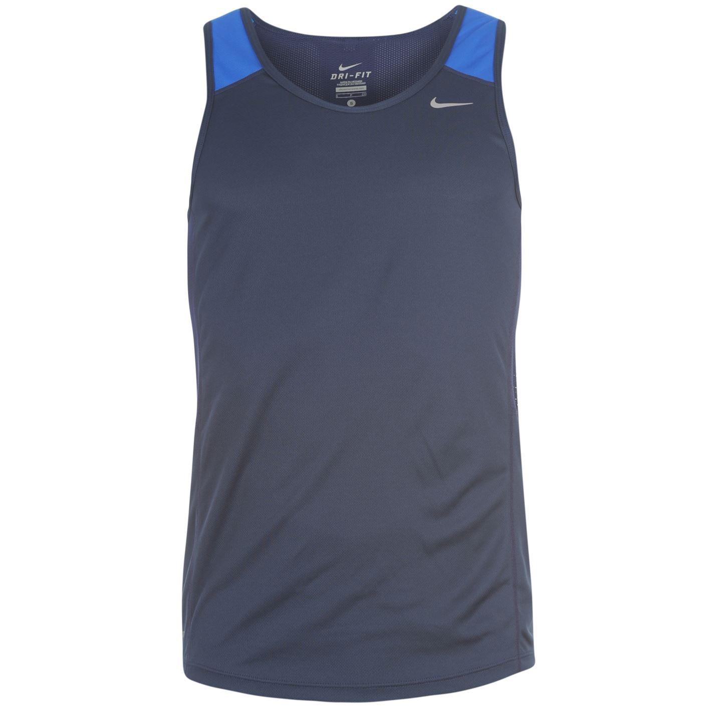 Nike racer vest singlet mens navy blue t shirt ebay for Navy blue and white nike shirt