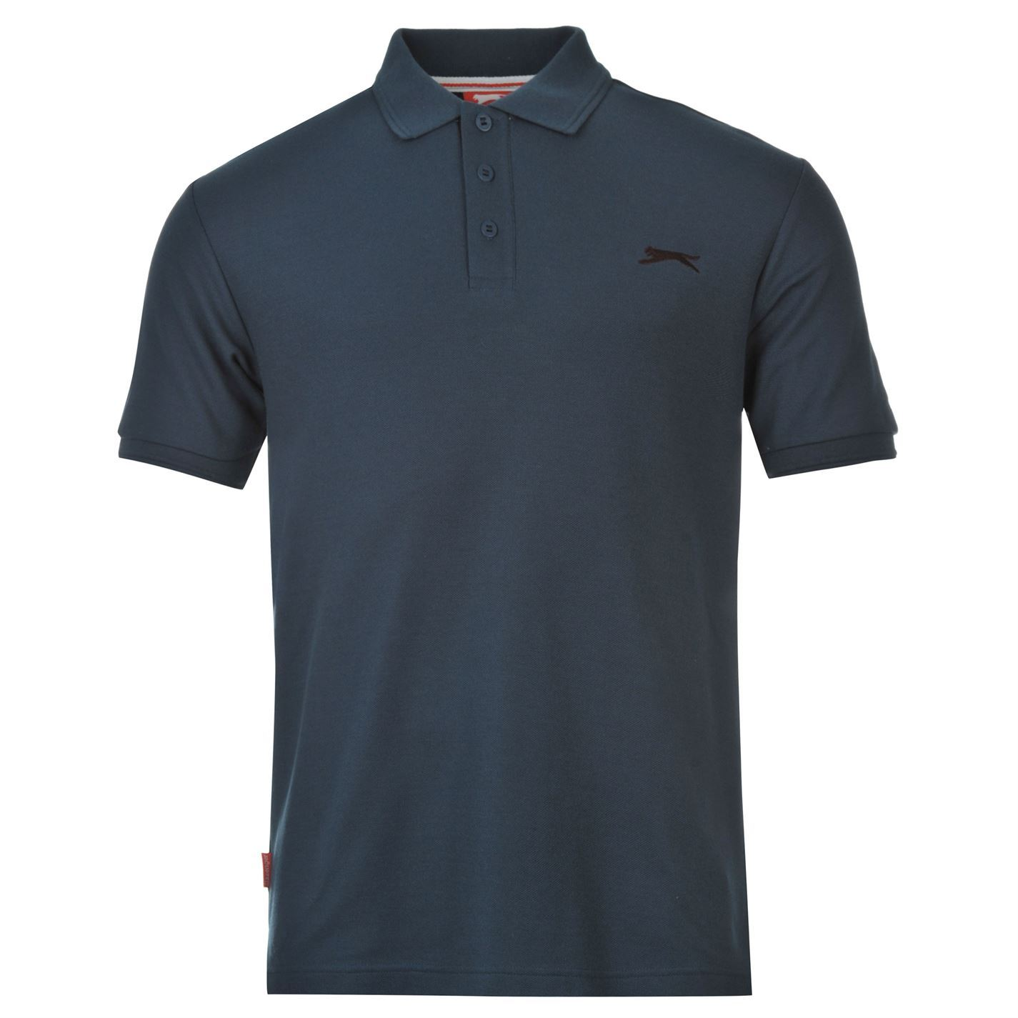 Slazenger plain polo shirt mens steel blue sports top tee for Simply for sports brand t shirts